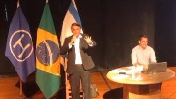 Bolsonaro durante palestra no Clube Hebraico, no Rio de Janeiro (Foto: Reprodução/ Youtube)