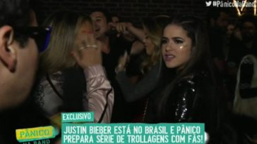 Maisa deu entrevista na porta de after party de Justin Bieber (Foto: Reprodução/ Twitter)