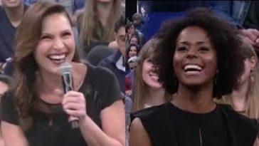 Sexóloga, jornalista e integrantes da plateia não conseguiram segurar a risada (Foto: Reprodução/ Youtube)